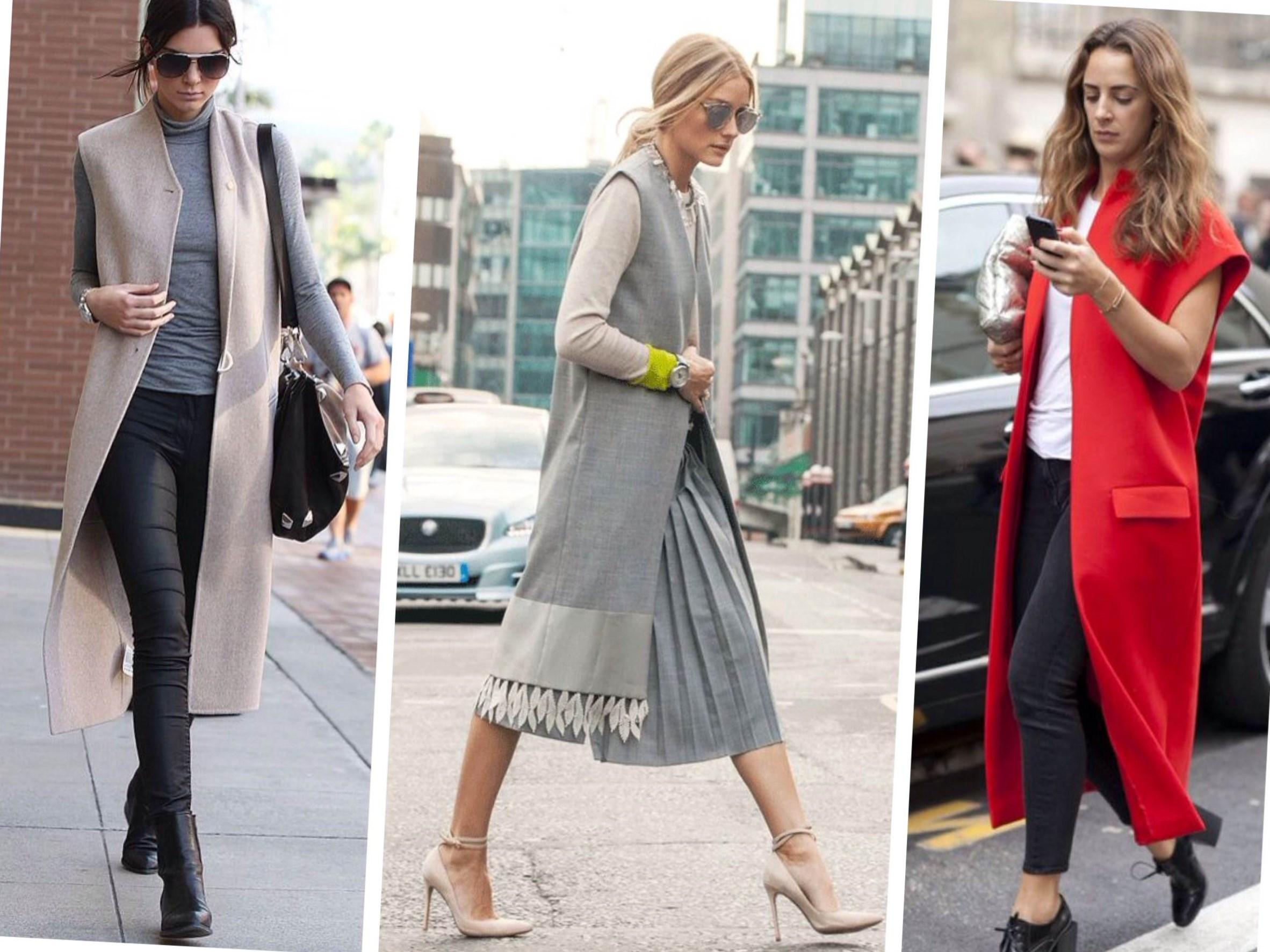 Модные луки длинный жилет