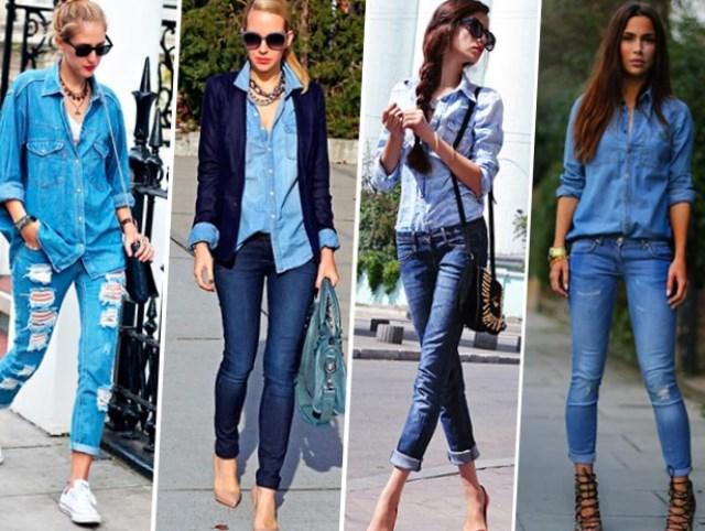 С чем носить джинсовую рубашку — модные образы изоражения
