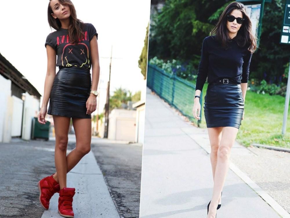 Итак, с чем носить кожаную юбку солнце, а также другие фасоны летом?Они прекрасно дополнят короткую юбку в длинном варианте, а короткие сапожки — юбку-миди. Также подходят они и в осенний период.