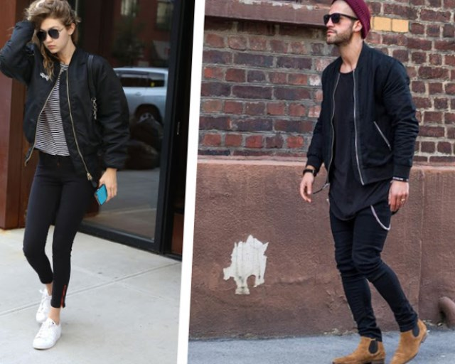 С чем носить модную куртку? Бомбер можно подобрать практически к любому стилю одежды.Может показаться, что такой тандем недопустим, но на самом деле мужской крой куртки лишь выгодно подчеркнёт женственность платья.