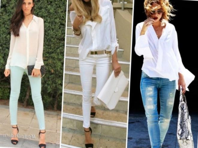a762596cea6 Как носить белую рубашку женщине - модные луки 2017