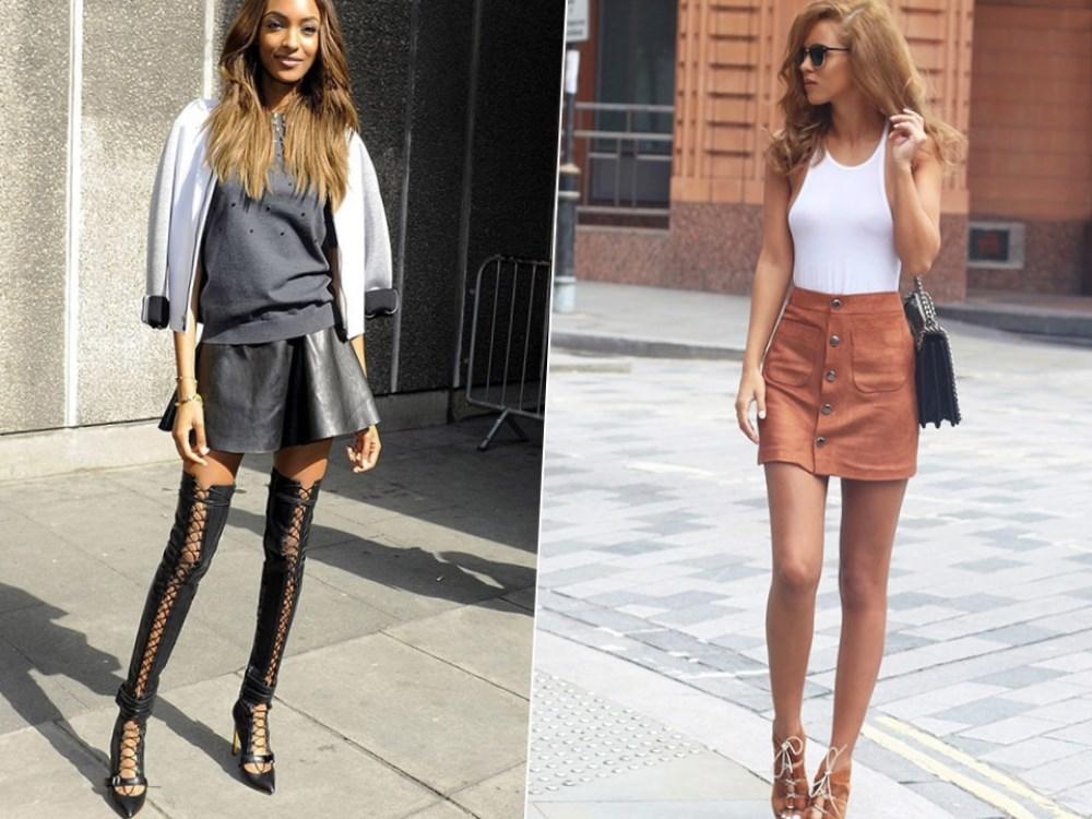 С чем носить кожаную юбку? 55 фото луков для самых модных. Но, важно не переборщить с сексуальностью, ведь сочетание короткой юбки и высоких каблуков нередко выглядит слишком вульгарно.